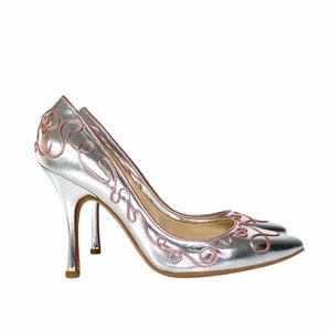 Alexandra Neel Silver Metallic Adorned Pumps 38